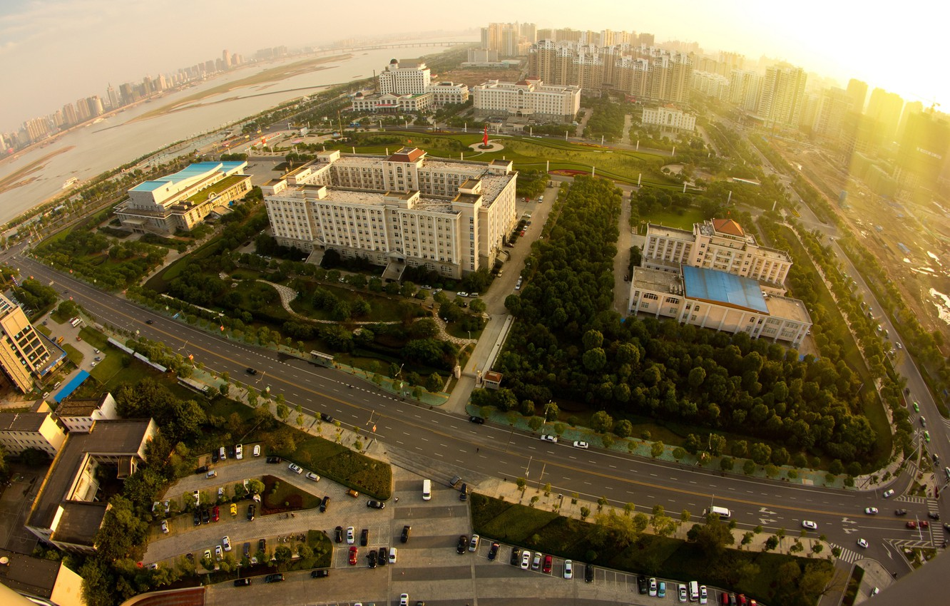 Photo wallpaper road, the sun, landscape, machine, city, the city, building, height, horizon, panorama, structure, scenery, building, …