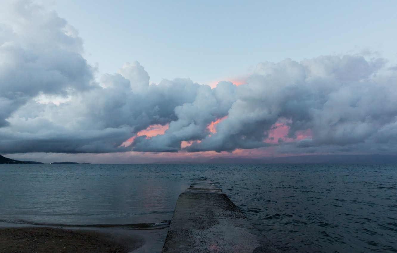 Photo wallpaper sea, clouds, sunset, storm