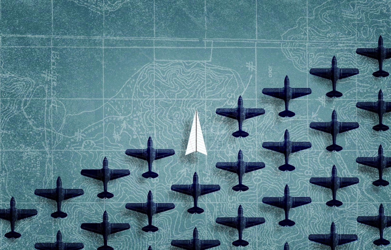 Photo wallpaper map, aircraft, figures, paper