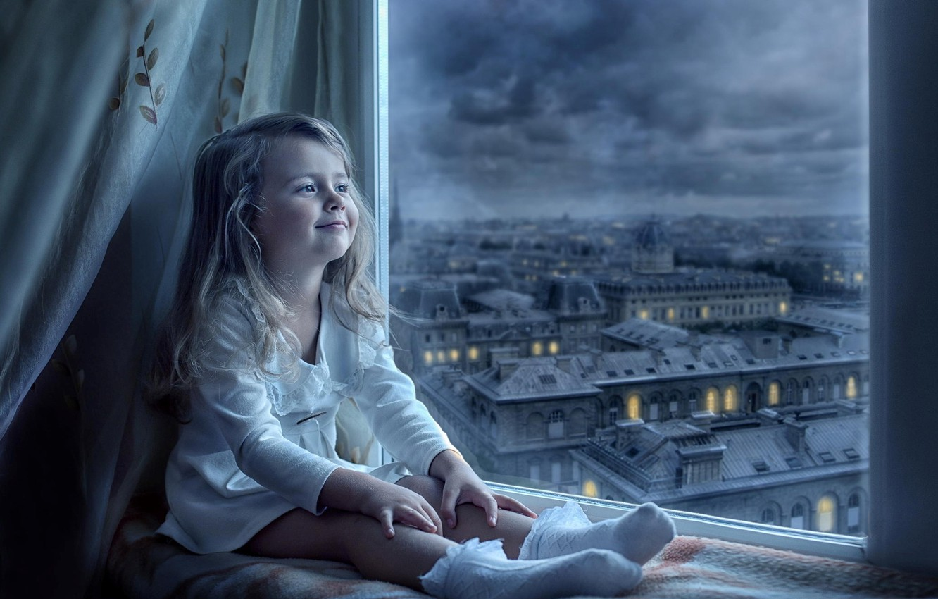 Photo wallpaper the city, smile, view, window, girl, child