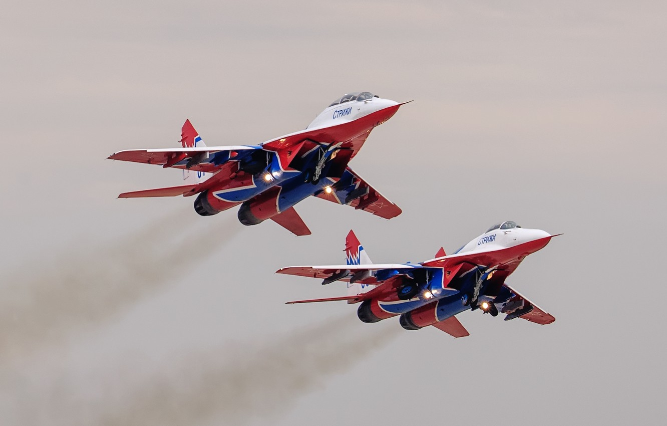 Photo wallpaper fighters, pair, MiG-29, The MiG-29