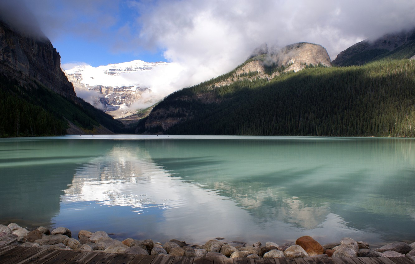 Photo wallpaper Canada, Lake Louise, glacial lake, beautiful, Banff national Park,