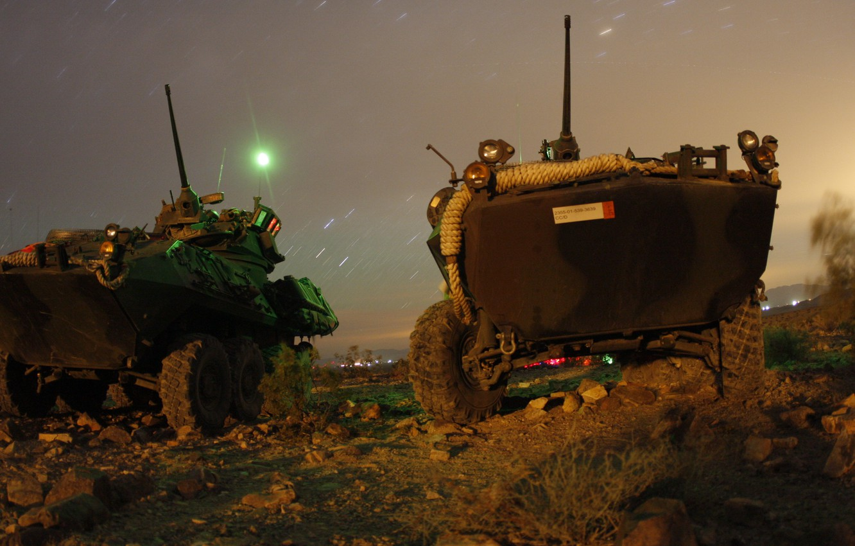 Photo wallpaper stars, night, guns, armored vehicles