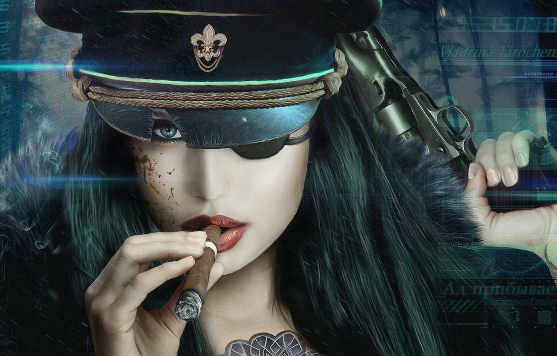 Photo wallpaper look, girl, gun, weapons, cigar, cap, Vincent Tanguay, LaserFaust - Vladrina