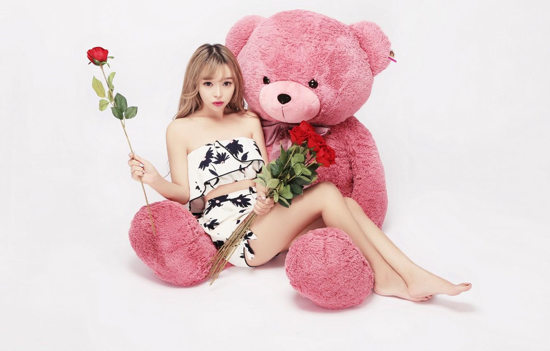 Photo wallpaper girl, mood, toy, rose, bouquet, bear