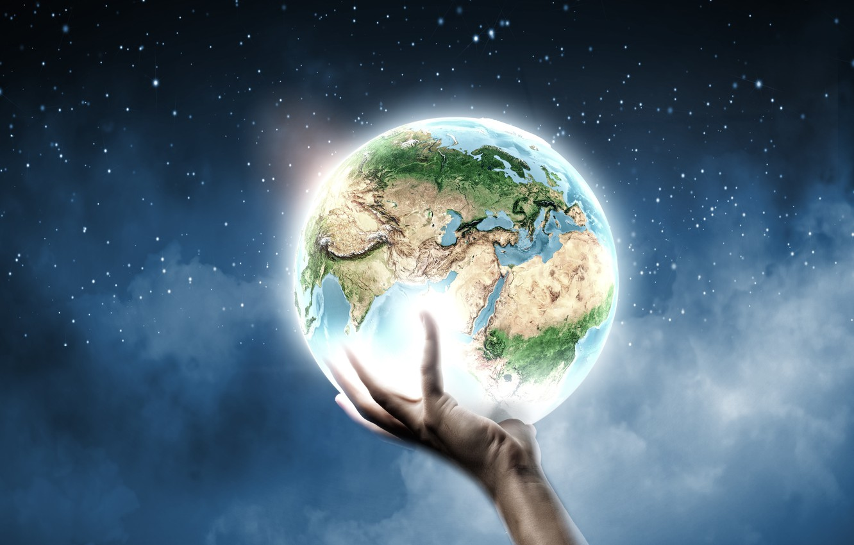 Photo wallpaper creative, earth, planet, hand, stars