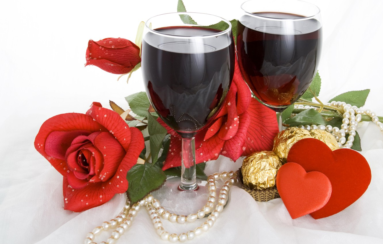 Photo wallpaper wine, roses, candy, hearts, beads, romantic, Valentine`s day, Valentine's day