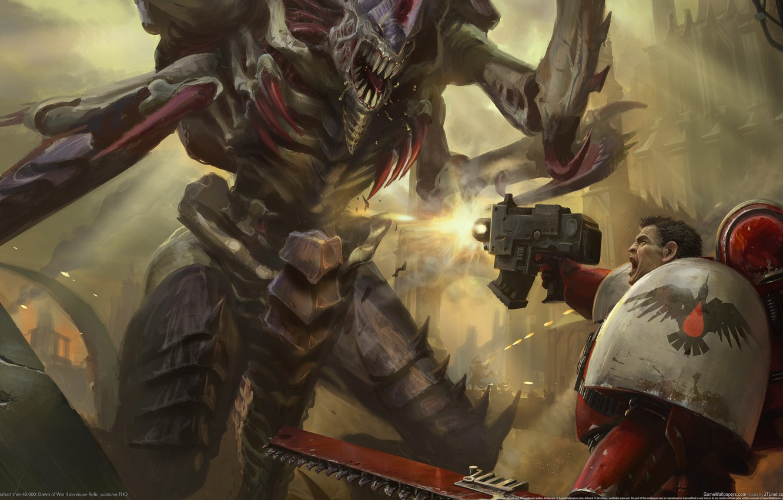 Photo wallpaper battle, Space Marines, dawn of war 2, 000, warhammer 40, Tyranids