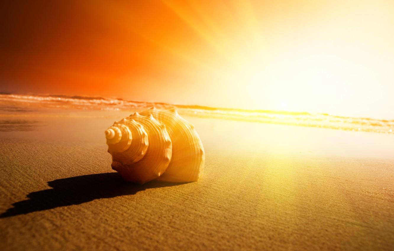 Photo wallpaper sand, sunset, Sea
