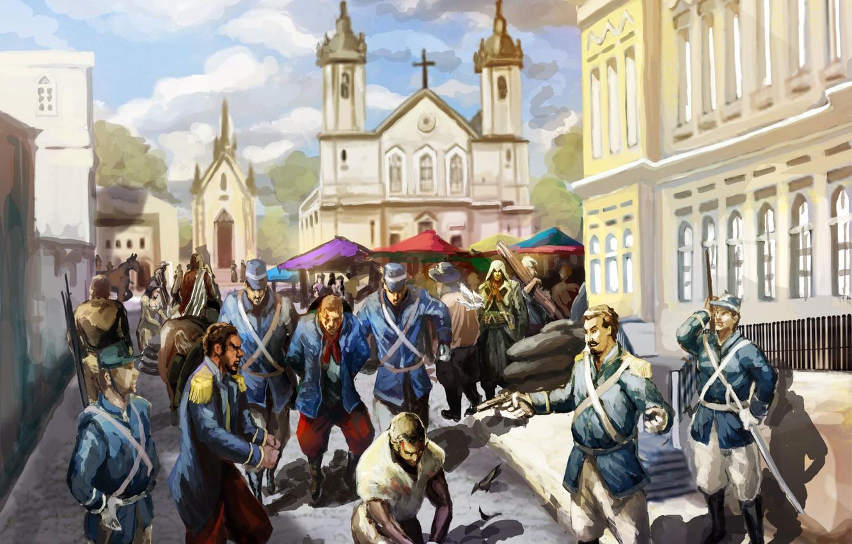 Photo wallpaper people, building, art, Church, soldiers, assassins creed, art, assassin