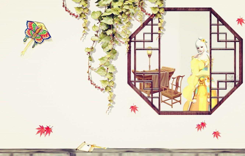 Photo wallpaper autumn, girl, window, art