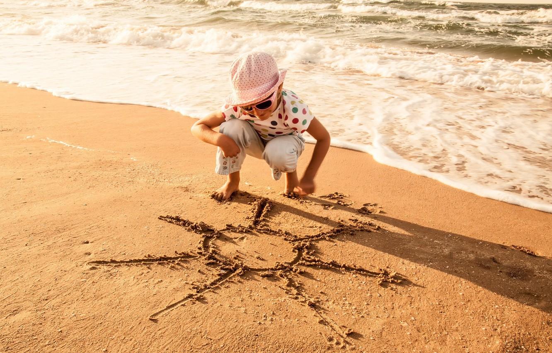 Photo wallpaper sand, sea, wave, beach, summer, water, the sun, joy, children, smile, background, stay, Wallpaper, mood, …