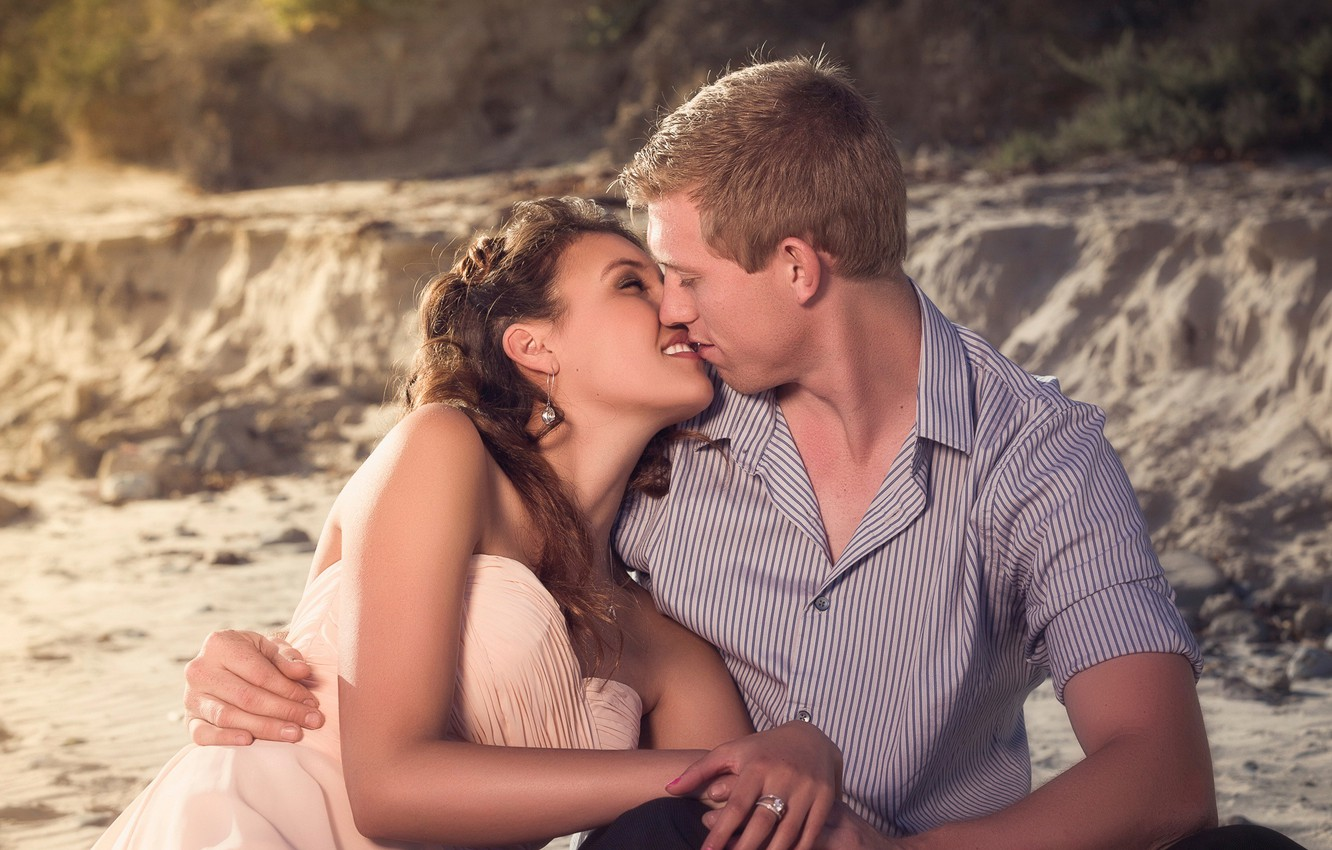 Photo wallpaper happiness, kiss, pair, lovers