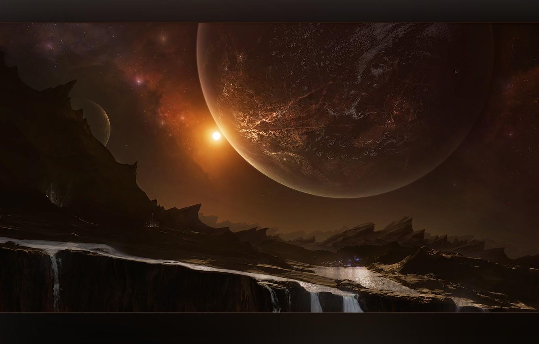 Photo wallpaper light, cosmos, planets