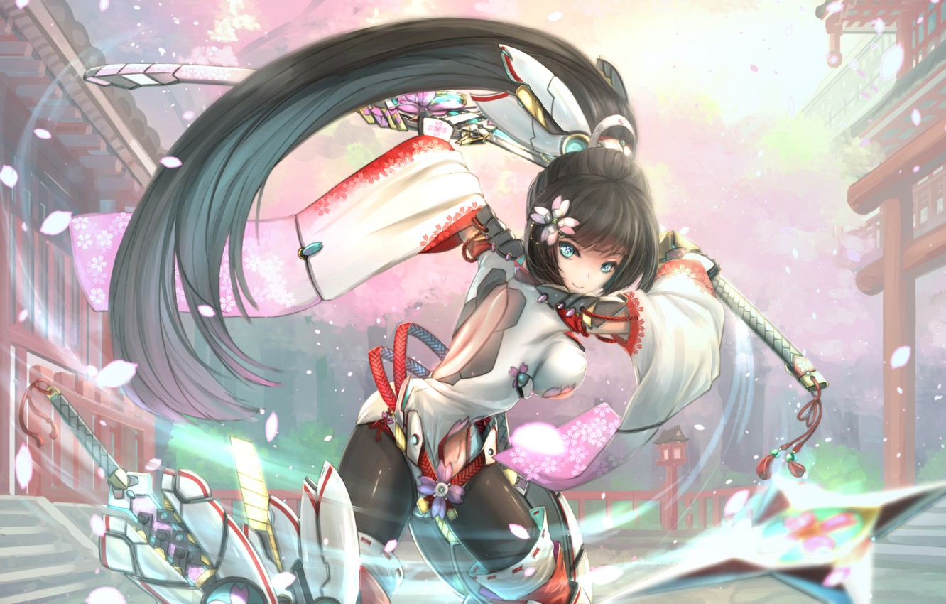 Photo wallpaper girl, flowers, smile, weapons, katana, anime, petals, Sakura, art, kikivi