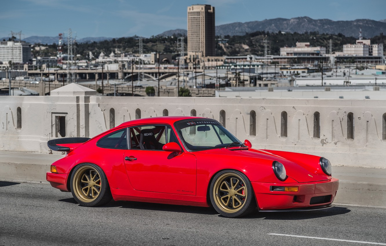 Photo wallpaper Porsche, red, 964, other