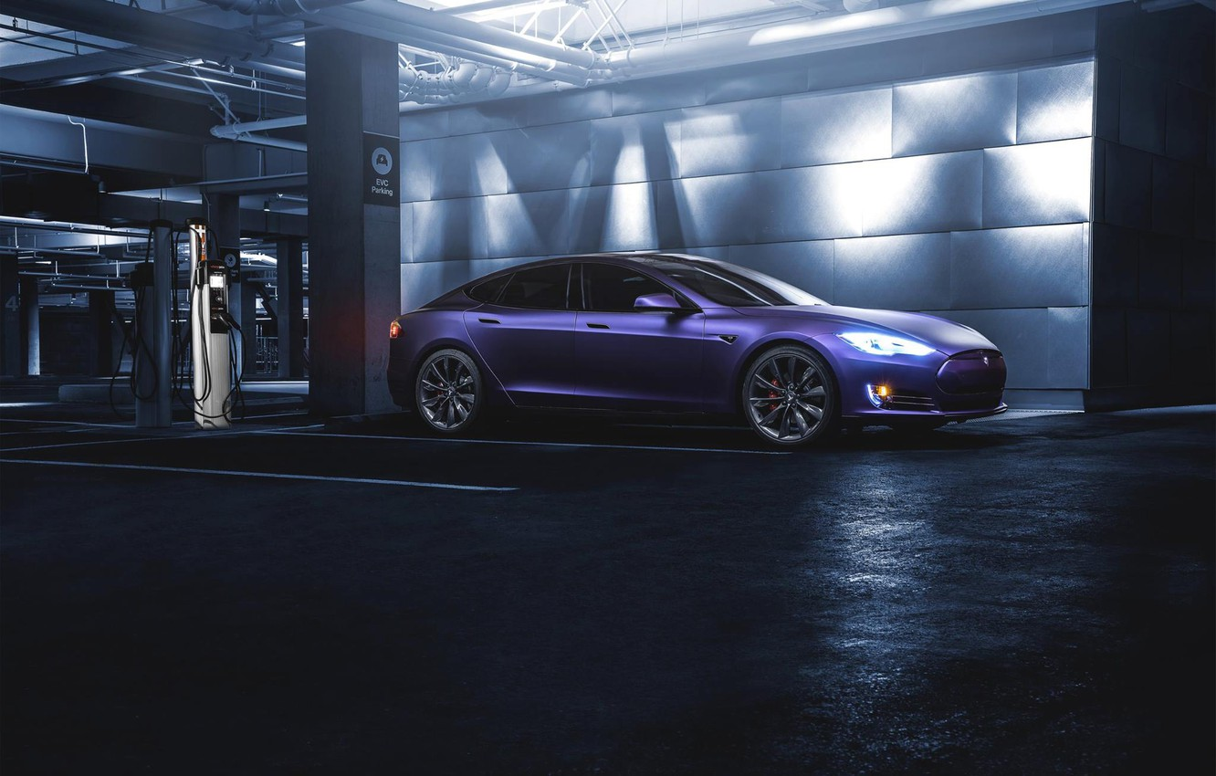 Photo wallpaper Purple, Front, California, Tesla, Matte, P85D, SS Customs, Drank, Grape, Eletric
