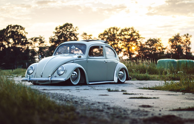 Photo wallpaper road, the sky, trees, sunset, Volkswagen, wheel, Beetle, sunroof