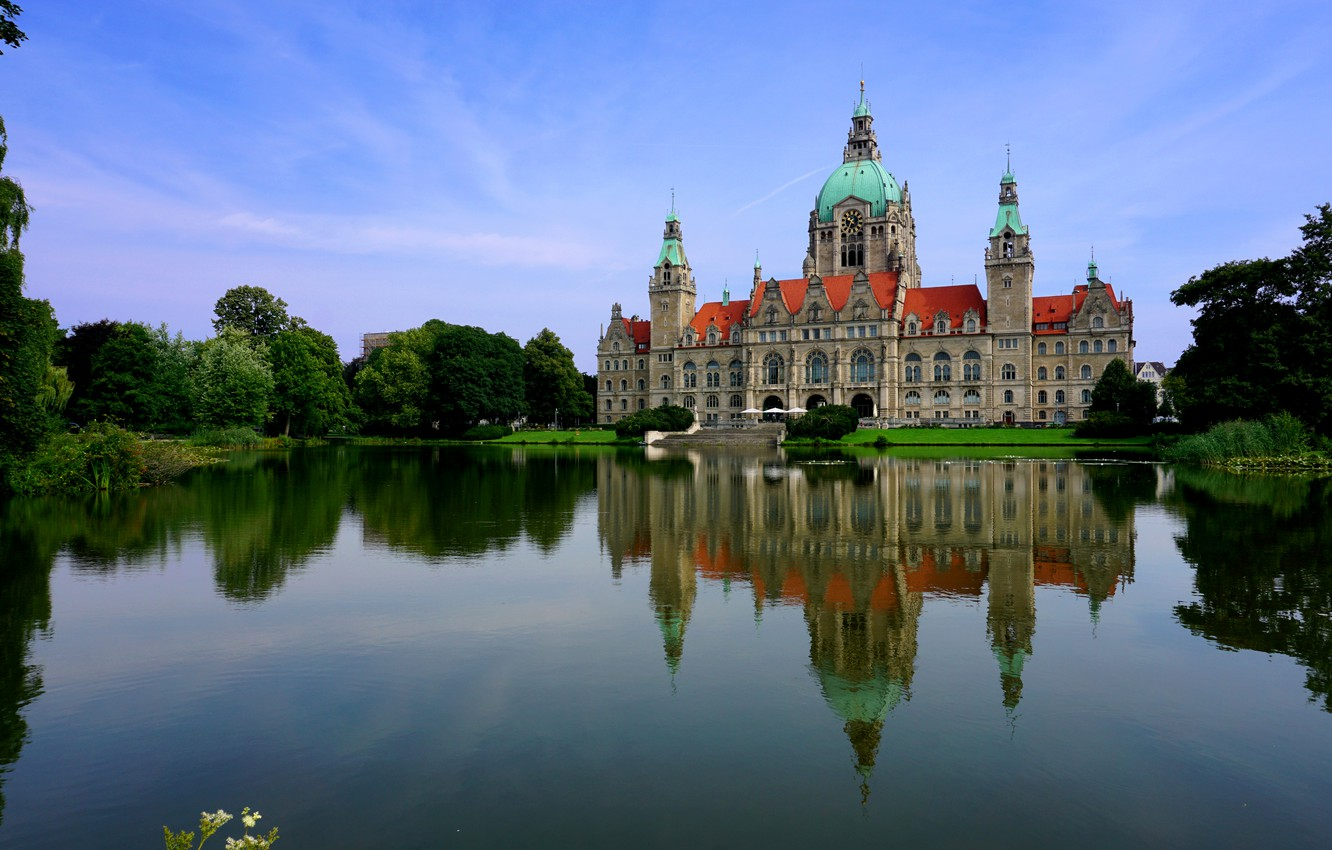 Photo wallpaper water, trees, pond, reflection, castle, Germany, New Town Hall, Hanove