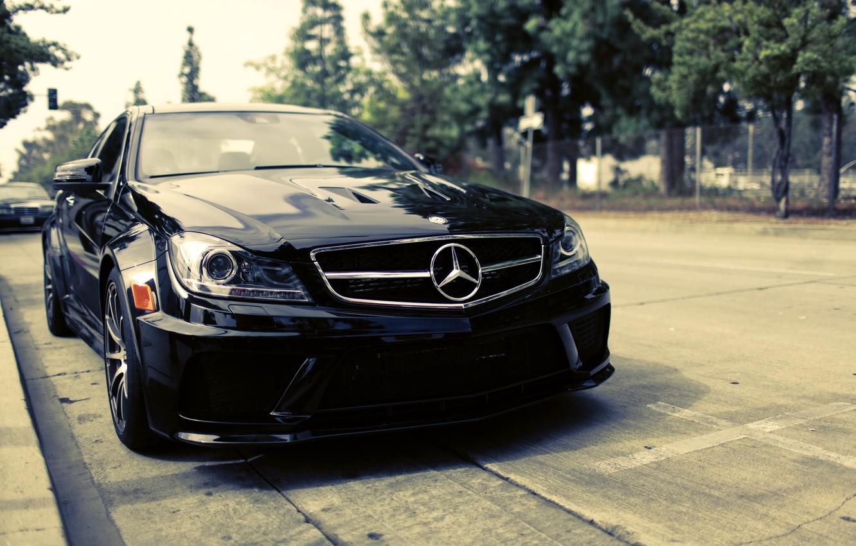 Photo wallpaper black, street, Mercedes-Benz, black, Mercedes Benz, C-Class, C204, C 63