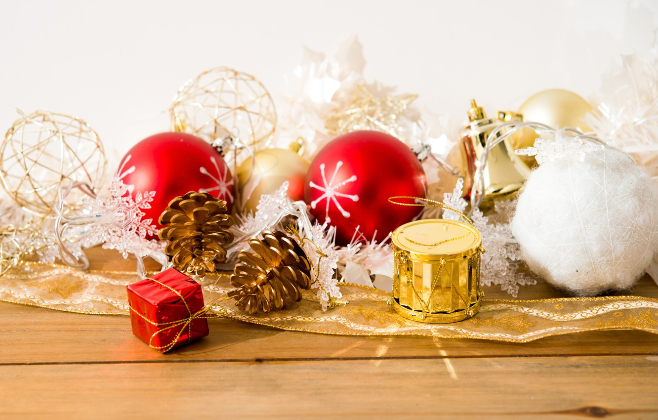 Photo wallpaper decoration, balls, toys, gifts, New year, new year, balls, bumps, toys, Merry Christmas, decoration, Merry …
