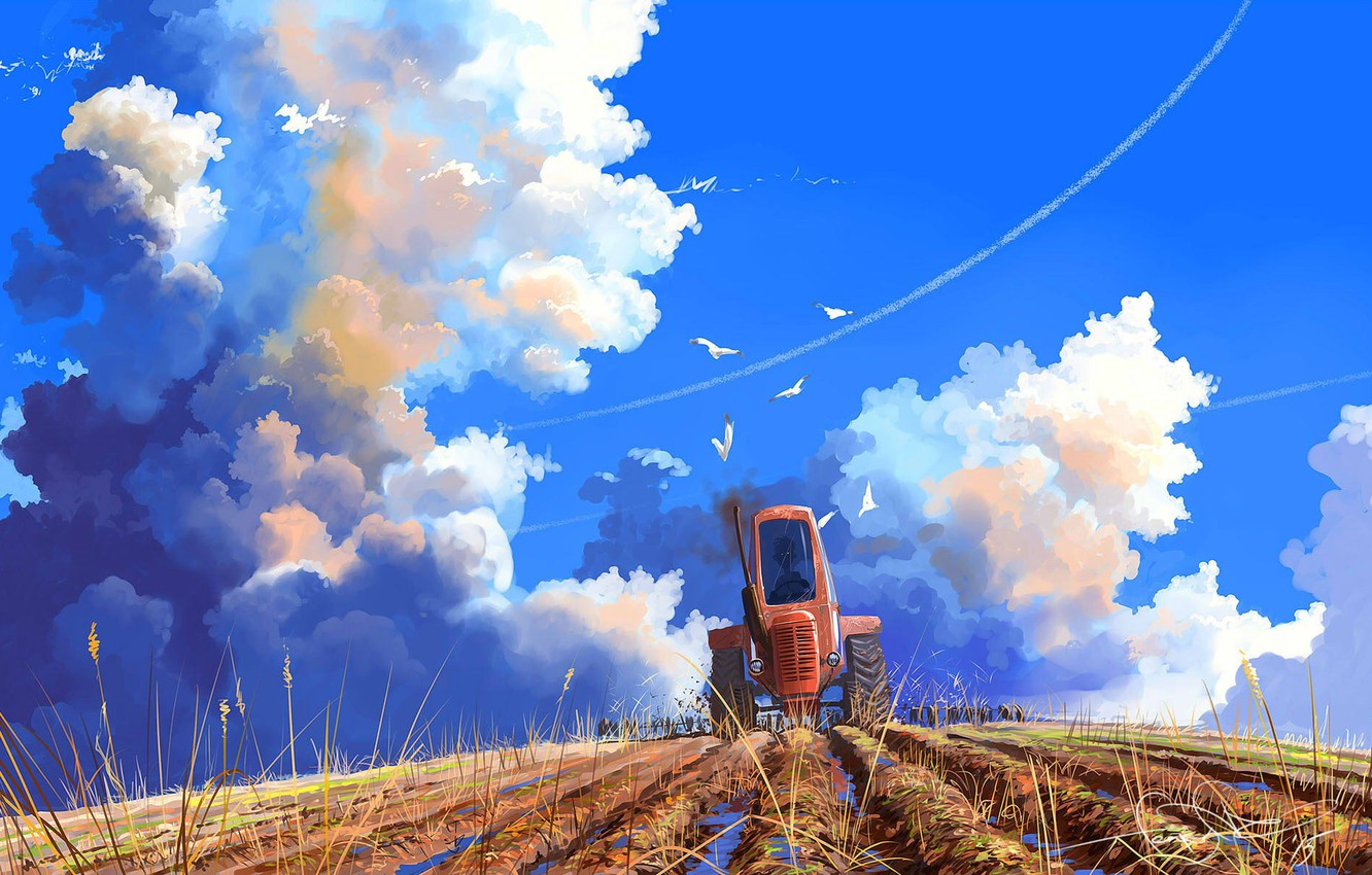 Photo wallpaper field, the sky, clouds, mood, art, tractor