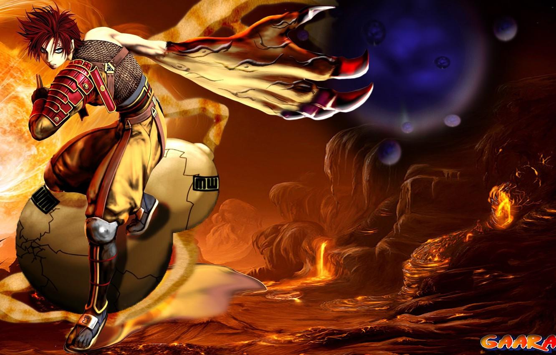 Photo wallpaper moon, love, game, Naruto, red hair, green eyes, desert, war, anime, sand, redhead, ninja, asian, …