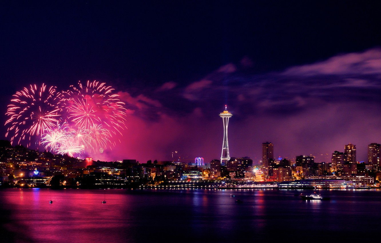 Wallpaper Night The City Lights Fireworks Seattle Panorama July 4 Images For Desktop Section Gorod Download