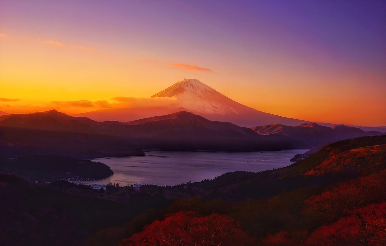 Photo wallpaper Clouds, Sky, Landscape, Sun, Mountain, Sunset
