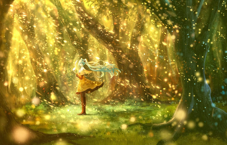 Photo wallpaper girl, trees, nature, anime, art, note, vocaloid, hatsune miku, bou nin