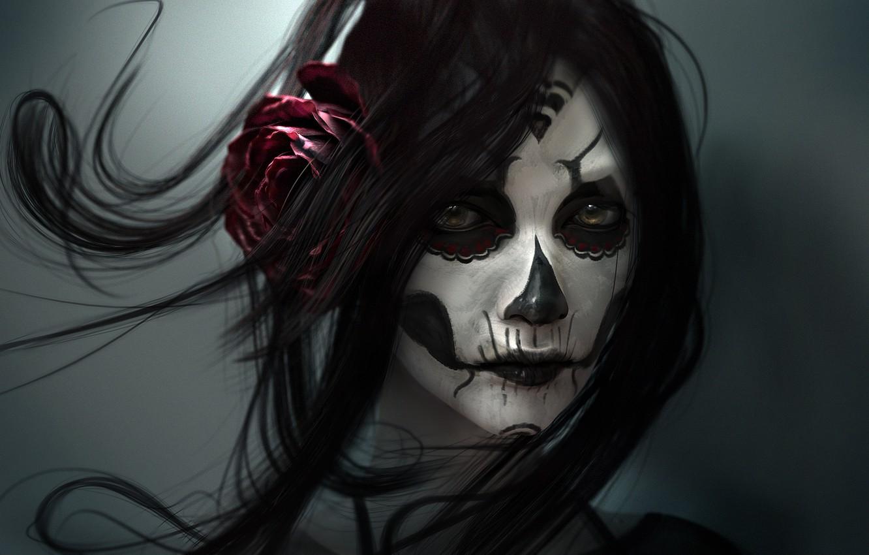 Photo wallpaper girl, rose, art, makeup
