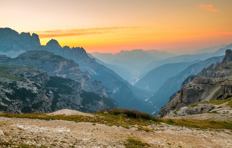 Photo wallpaper landscape, mountains, river, dawn, haze