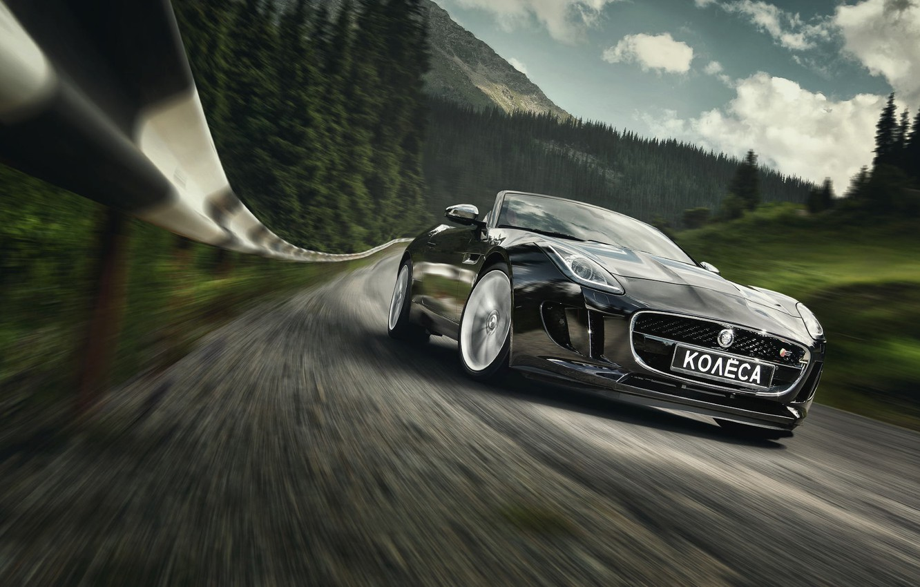 Photo wallpaper Jaguar, Car, Speed, Black, Sport, Road, Photography, Forest, F-Type S