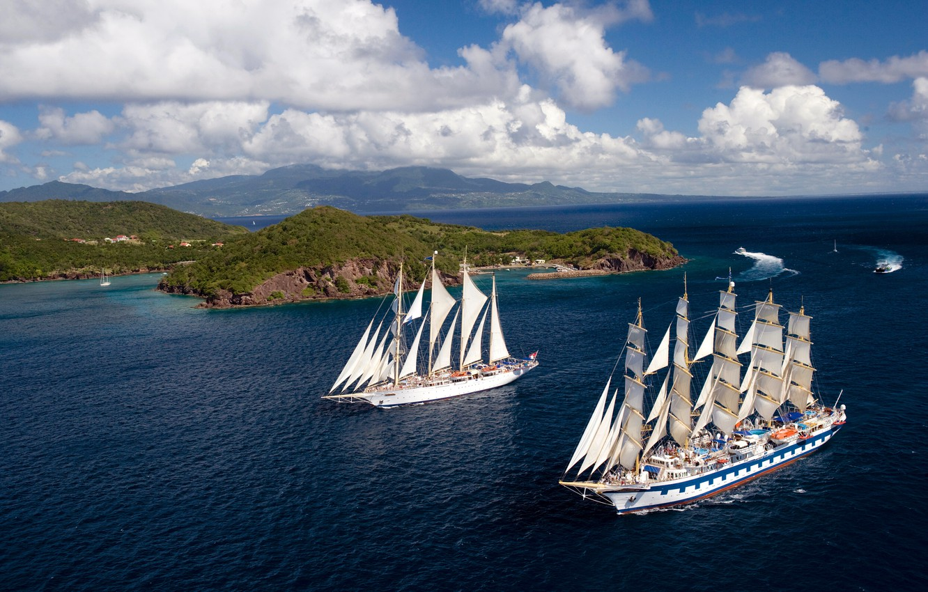 Photo wallpaper Water, Sea, Blue, Ship, Islands, Sailboat, Day, Sails, Calm, Two, On the go