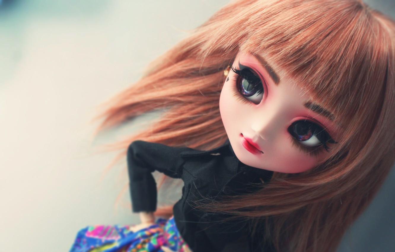 Photo wallpaper eyes, face, doll, large, bangs