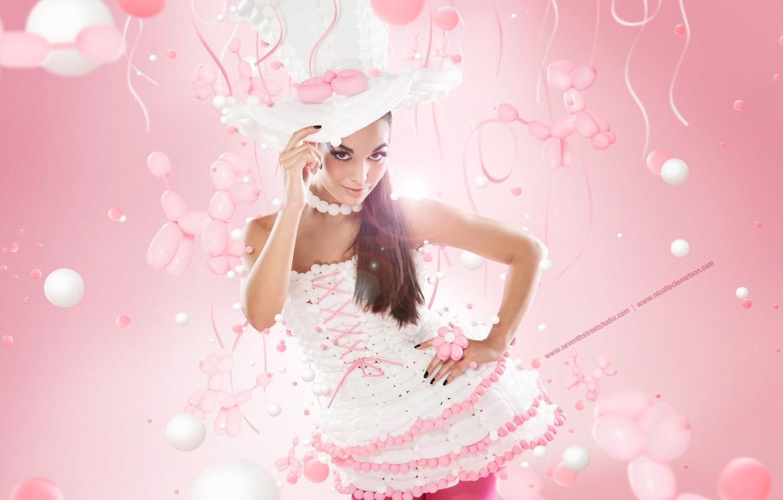 Photo wallpaper girl, pink, hat