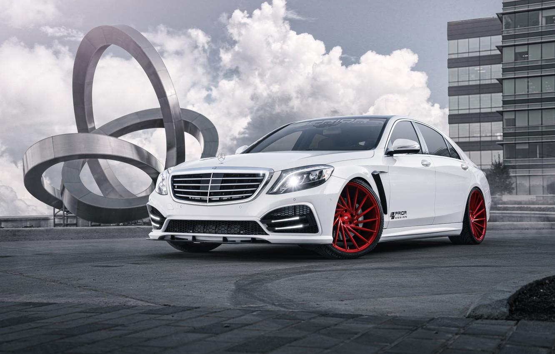 Photo wallpaper Mercedes-Benz, Red, Design, Body, AMG, S550, Vossen, Wheels, Motors, Prior, Kit, EVS
