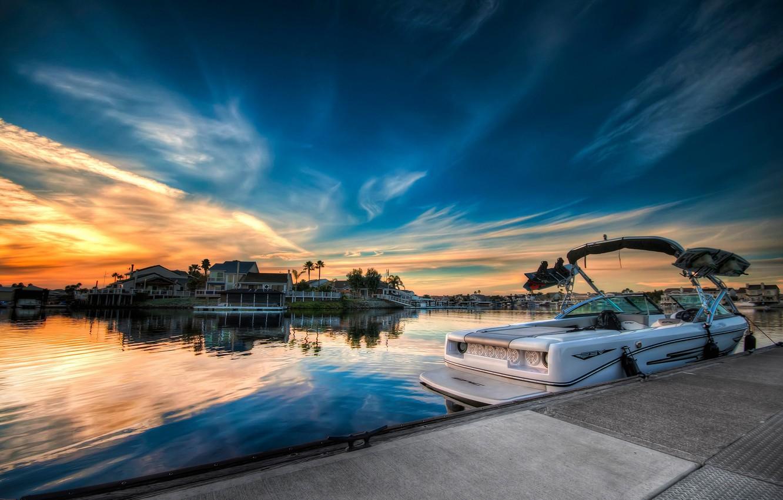 Photo wallpaper the sky, sunset, dawn, boat, home, Sunset, obloka, blue sky, oranzhivoe sky