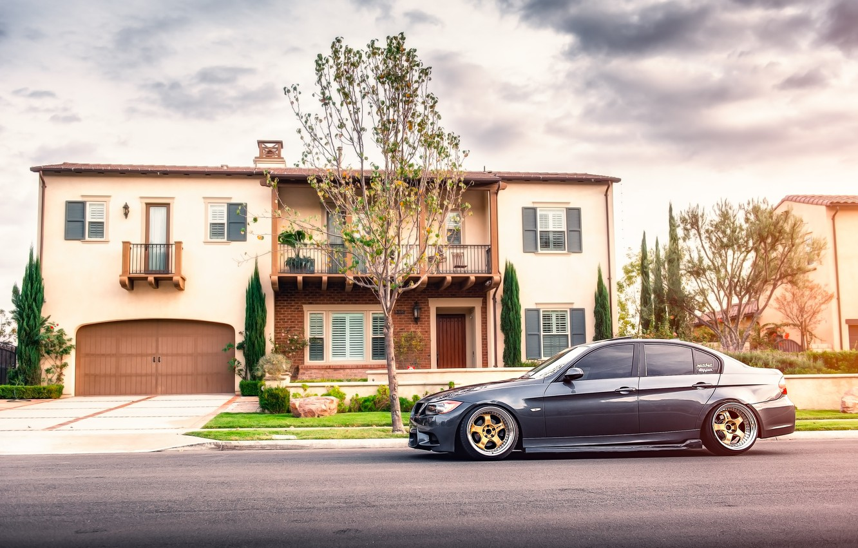 Photo wallpaper street, BMW, BMW, profile, 335i, sedan, 3 series, stance