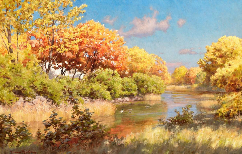 Photo wallpaper autumn, the sky, water, clouds, trees, landscape, river, duck, picture, village, Bank, Johan Krouthen