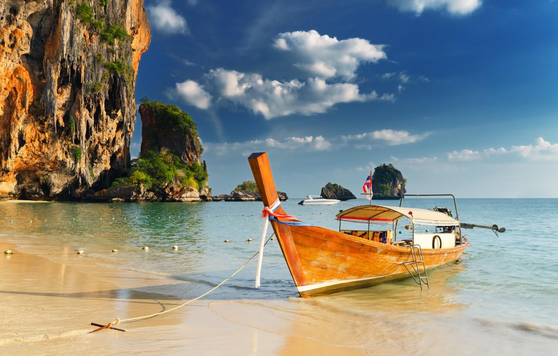 Photo wallpaper sand, sea, clouds, rocks, shore, boat