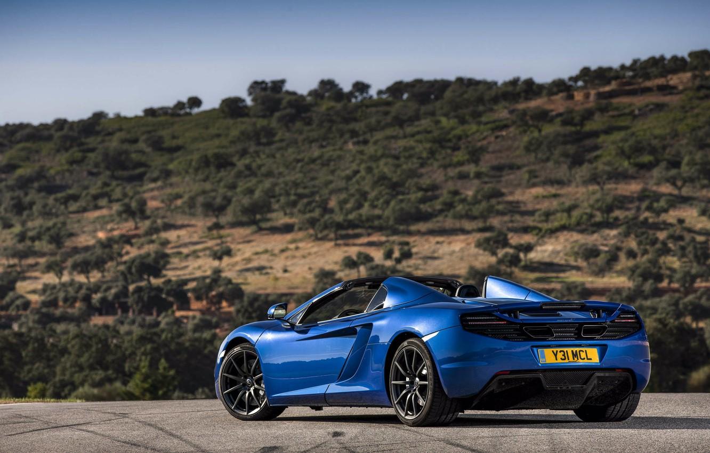 Photo wallpaper trees, blue, spider, rear view, spider, McLaren, Mclaren MP4-12C