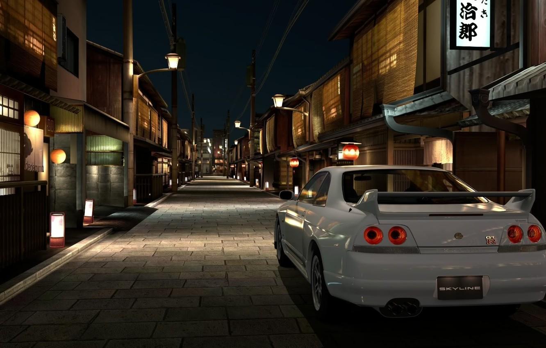 Photo wallpaper white, night, the city, Japan, nissan, gran turismo 5, skyline, gtr, playstation 3, r33, nissan …