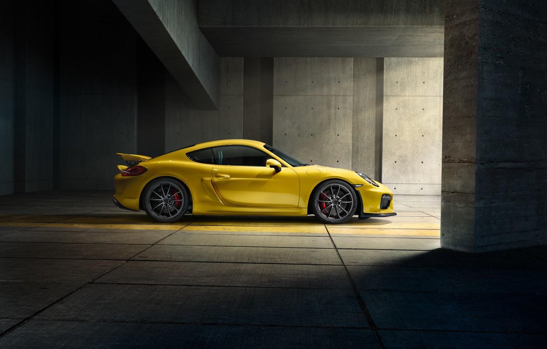 Photo wallpaper Porsche, Cayman, Yellow, Side, Parking, Supercar, GT4, 2015
