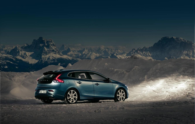 Photo wallpaper The sky, Mountains, Volvo, Snow, Twilight, Cars, V40
