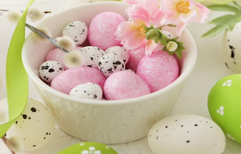 Photo wallpaper flowers, eggs, spring, Easter, Verba, flowers, spring, Easter, eggs, decoration, Happy, willow