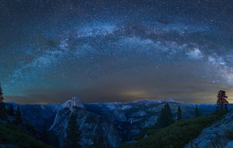 Photo wallpaper mountains, stars, CA, Yosemite, The Milky Way, California, Yosemite national Park, Milky Way, Yosemite National …