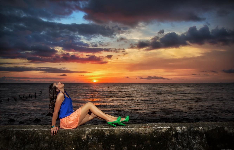 Photo wallpaper sea, girl, sunset