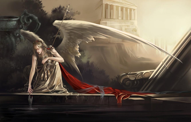 Photo wallpaper water, hand, wings, Angel