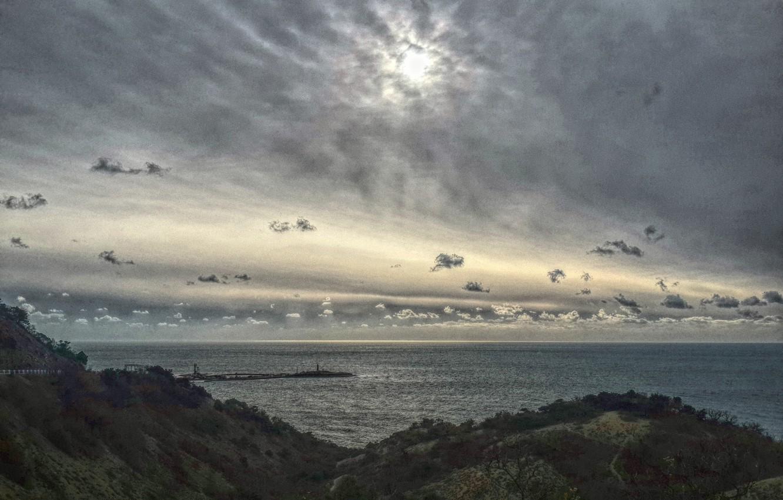 Photo wallpaper sea, the sun, clouds, Anapa, B. Utrish